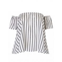 Choies White Stripe Off Shoulder Blouse (42 ILS) ❤ liked on Polyvore featuring tops, blouses, red, white off the shoulder top, striped tops, off shoulder blouse, striped off the shoulder top and red blouse