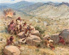 Artwork by Joe Beeler, Battle of Apache Pass, Made of Oil on canvas kp