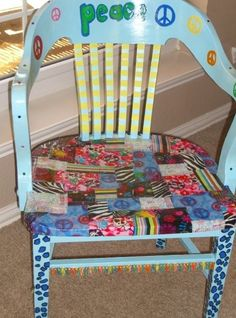 """Fabric pieces decoupaged with """"Mod Podge"""" onto funky, painted chair from garage sale."""