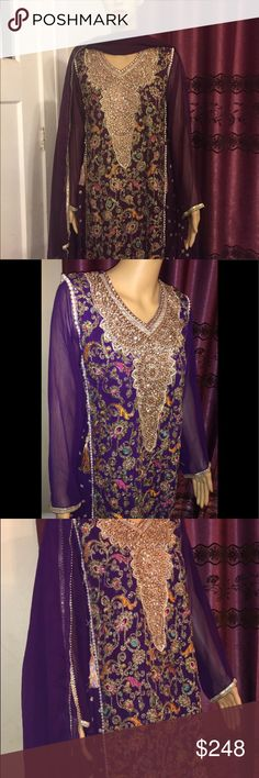 30e12f3fd1 Indian pAkistani Embroidered chiffon stitch Ready to wear stitched  embroidered chiffon Salwar Kameez with golden silk. Poshmark