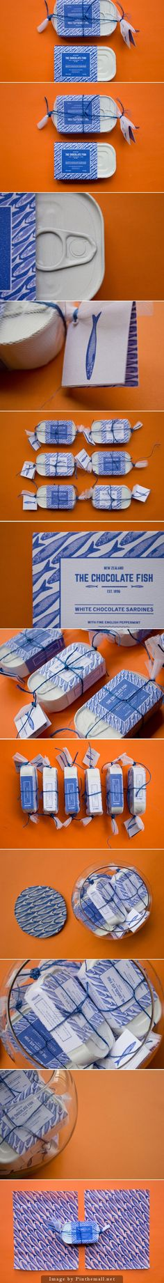 The chocolate fish / The chocolate fish is a New Zealand chocolate brand, that sells chocolate sardines destined to children. As a New Zealander I grew up munching chocolate marshmellow filled fish. Love this idea that takes the tradition up a step! Packaging Box Design, Cool Packaging, Print Packaging, Label Design, Web Design, Package Design, Packaging Inspiration, Chocolate Packaging, Identity Design