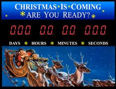 Christmas is coming with Santa and his Reindeer...Countdown to Christmas Wall sign