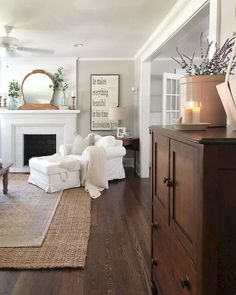 Are you looking for images for farmhouse living room? Check out the post right here for cool farmhouse living room pictures. This particular farmhouse living room ideas seems to be absolutely terrific. Living Room Interior, Home Interior, Home Living Room, Living Room Designs, Living Spaces, Interior Design, Small Living, Farmhouse Living Rooms, Kitchen Living