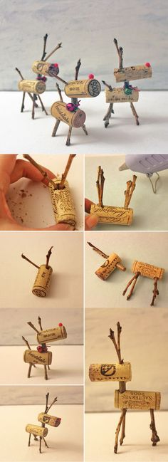 Easy Christmas Decor Ideas: Reindeer games Corks | Easy DIY Wine Cork Decor Project by DIY Ready at  http://diyready.com/more-wine-cork-crafts-ideas/