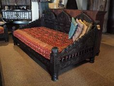 Hand Carved Indian Sofa / Daybed W/10 Pillows ($2795.00)  For the living room