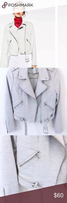 NWOT ZARA Biker Moto Zipper Buckle Jacket New without tags. Zara Fall Collection. Perfect for the edgy biker style. Metal details zipper pockets. Adjustable buckle. light grey color. Closet staple. Throw it over any outfit ✨ 63% polyester, 35% viscose, 2% elastane Zara Jackets & Coats