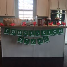 Concession Stand Easy DIY Super Bowl Party Decoration Ideas Source For more pins visit our homepage Football Draft Party, Football Birthday, Sports Birthday, Sports Party, Football Party Games, Super Bowl Party, Football Themes, Football Party Decorations, Football Awards