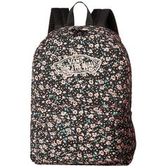 Vans Realm Backpack (Black Daydream Floral) Backpack Bags (120 BRL) ❤ liked on Polyvore featuring bags, backpacks, vans backpacks, vans rucksack, floral bag, handle bag and strap bag