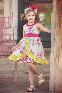 This adorable Ruby Dress is such a delight for any spring time party or pictures. She will love dancing and playing in this twirly dress! Amazing quality, made in the USA. Persnickety Clothing Co. Purple Dress, Yellow Dress, Clothing Co, Boutique Clothing, Little Dresses, Flower Girl Dresses, Persnickety Clothing, Diy For Girls, Baby Girls