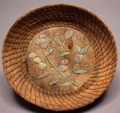 Peabody Number: 25-5-10/98169 Inventory Description: Basket, birch bark base with quillwork, floral motif, coiled sweet grass sides Southeastern Ojibwa North America