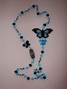 Butterfly Beaded Necklace by verabeads on Etsy