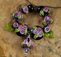 Glass Lampwork Beads Lavender Pink Gardens SRA by carolynsbeads, $30.00