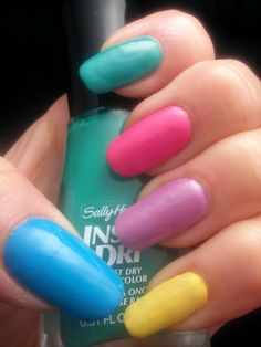 Sally Hansen Insta-Dri Skittle in Brisk Blue, Mint Sprint, Presto Pink, Lively Lilac and Expres-so Yellow