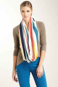 Loveappella Large Stripe Circle Scarf by Accessories Blowout on @HauteLook