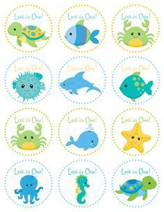 Blue Under the Sea Birthday- Personalized Printable Cupcake Toppers /Gift Favor Tags