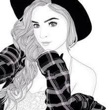 Image result for tumblr art black and white girl