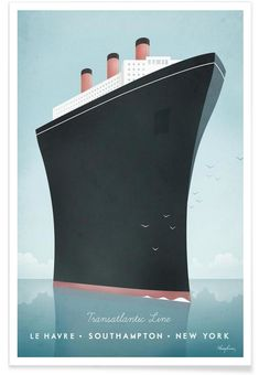 Vintage travel poster of an Art Deco ocean liner. Original illustration by artist Henry Rivers. Art prints of this vintage poster for sale in all sizes! Art Deco Posters, Poster Prints, Art Prints, Canvas Prints, Pub Vintage, Vintage Art, Vintage Style, Plakat Design, Art Deco Home
