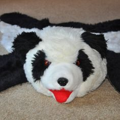 Panda Bear Skin Rug Faux Fur Stuffed Head Black And White Childs Room Photo  Prop