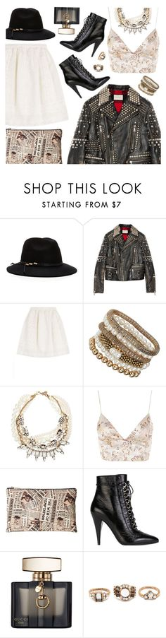 """Cool-Girl Style: Leather Jackets"" by jychooi ❤ liked on Polyvore featuring Moda In Pelle, Gucci, Alberta Ferretti, Dorothy Perkins, Lulu Frost, WYLDR, Charlotte Olympia, Yves Saint Laurent, Forever 21 and leatherjacket"