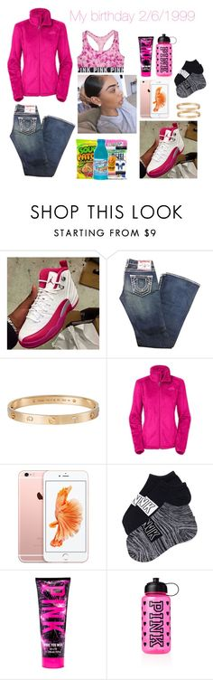 """""""MY BIRTHDAY IS SATURDAY!!!!"""" by jadasmith1 ❤ liked on Polyvore featuring True Religion, Cartier, The North Face, Victoria's Secret PINK, women's clothing, women, female, woman, misses and juniors"""