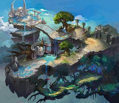 Fantasy City, Fantasy Map, Fantasy World, Fantasy Art Landscapes, Fantasy Landscape, Landscape Art, Fantasy Concept Art, Game Concept Art, Environment Concept Art