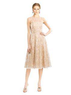 Oscar de la Renta Exclusive Gold Lace Illusion-Neck Dress
