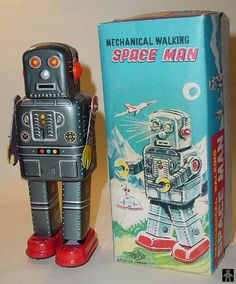 IMECHANICAL WALKING SPACE MAN VERSION 5 - SY/YONEYA - JAPAN - ALPHADROME ROBOT AND SPACE TOY DATABASE.   I got one just like this for Christmas in 1962.