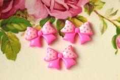 Resin Bow Cabochons 6 pcs Cute BowKnot Cabochon Charm Polka Dot-Pink via Etsy