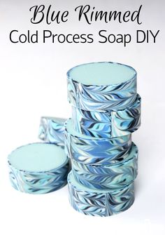 Learn how to create soap with a patterned rim in this Blue Rimmed Cold Process Soap Tutorial!