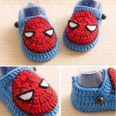 Spider man baby booties crochet