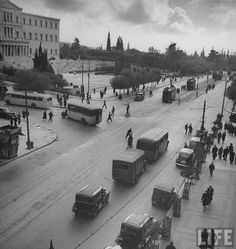 Busseling University Street in downtown.Location:Athens, Greece Date Photographer:Dmitri Kessel Greece Pictures, Old Pictures, Old Photos, Vintage Photos, Vintage Cars, Greece History, Good Old Times, Great Photographers, Athens Greece