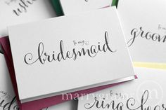Bought thank-you cards for entire wedding party (bridesmaids, groomsmen, flower girls, and ring bearer) 6/24/14 Etsy- marrygrams $30; Delivered 6/28