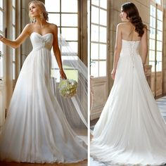 New Applique Sweetheart Chiffon Sheath Beach Wedding Dress US4 6 8 10 12 14