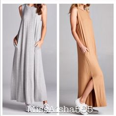 Sleeveless chic dress Loose  fit sleeveless side slit side pocket round neck jersey rayon dress PLEASE USE Poshmark new option you can purchase and it will give you the option to pick the size you want ( all sizes are available) BUNDLE And SAVE 10% ( sizes updated daily ) Dresses Maxi