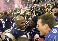 om Brady celebrates with Roman Phifer after the No. 2 seed Patriots defeat St. Louis for their first Super Bowl championship after the 2001 season.
