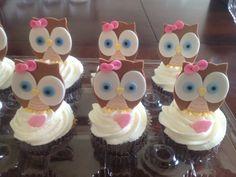 Baby owl girl fondant topper