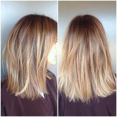 Hair transformation from brunette to beautiful golden blonde. Color by Katherine Hyde and cut by Gareth Bromell.