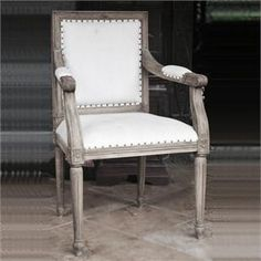 Go to Beaune 2,  Vintage French Teak Dining Carver, Belgian Linen  Upholstered