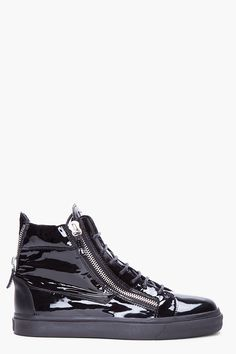 online store 83c5e 24c0f High-top patent leather sneakers in black. Silver tone hardware. Round toe.