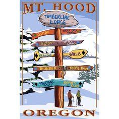 Mt Hood OR Timberline Ldg Ski Runs Sign LP Artwork (Chef's Cotton/Poly Apron), Blue wash