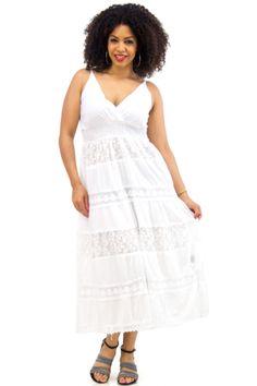Plus Size White Crochet-Layered Maxi Sundress   Danice Stores