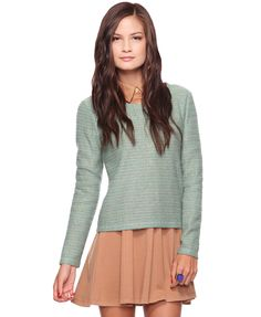 Metallic Stripes Top over collared dress outfit - http://AmericasMall.com/categories/juniors-teens.html