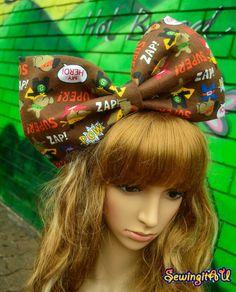 Brown oversized bow bunny headband/hair by SewingitAU on Etsy,