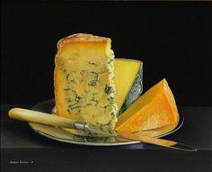 Still Life with Stilton Cornish Yarg and Devon Oke cheeses. Jessica Brown