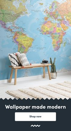 Plan your next adventure with any one of our detailed world map murals that look great on any wall. World Map Mural, World Map Wallpaper, World Map Design, Detailed World Map, Ceiling Decor, Vintage Maps, Viera, Paint Ideas, Kids Playing