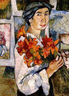 Natalia Goncharova - self portrait with flowers.....Natalia Sergeevna Goncharova (born  June 4, 1881 Negaevo, Tula Province, Russian Empire – died October 17, 1962  (aged 81) Paris, France) was a Russian avant-garde artist, painter, costume designer, writer, illustrator, and set designer. Her great-aunt was Nataliya Nikolaevna Goncharova, wife of the poet Alexander Pushkin.