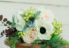 Silk Blush Fall Winter Burgundy Wedding Bouquet - Anemone Rose White Blush and Sage - Silk Bouquet