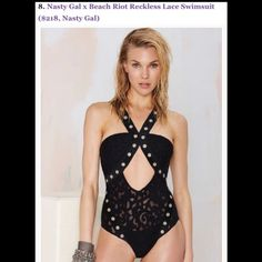 Beach riot swimsuit from nasty gal. NWT . Lace Cool as hell bathing suit from nasty gal by beach riot. Amazing quality. Firm durable lace and metal accents. New and never worn. No trades Nasty Gal Swim One Pieces
