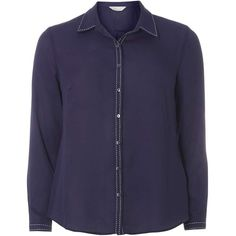 Dorothy Perkins petite Navy Stab Stitch Shirt ($12) ❤ liked on Polyvore featuring tops, blue, petite, petite shirts, navy shirt, dorothy perkins, stitch top and navy blue top