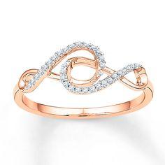 Double Infinity Ring 1/10 ct tw Diamonds 10K Rose Gold